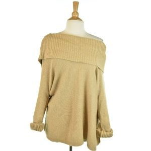 Chico's Off The Shoulder Tan Sweater